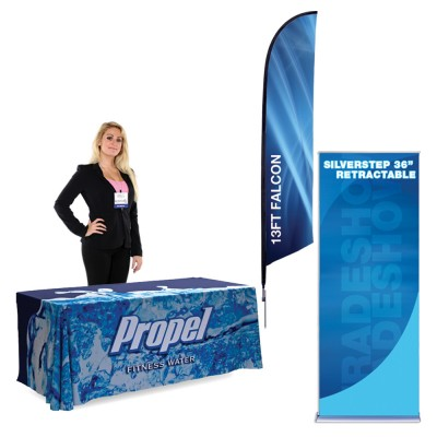 Falcon 13 ft. X-Base - SilverStep Banner Stand - 6ft Table Cover Showcase Kit